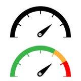 L'icône de tachymètre de noir et de couleur Photo stock