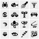 L'icône de vecteur de collection de sushi de nourriture d'Apanese a placé sur g illustration de vecteur