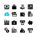L'icône de Web a placé - l'argent, argent liquide, carte Photographie stock
