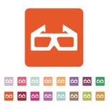 L'icône du film 3d symbole en verre 3D plat Photographie stock libre de droits