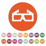 L'icône du film 3d symbole en verre 3D plat Photo libre de droits