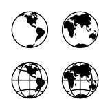 L'icône du monde a placé sur le fond blanc, 2 hémisphères Vecteur illustration libre de droits