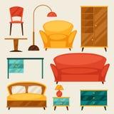 L'icône intérieure a placé avec des meubles dans le rétro style Photographie stock libre de droits