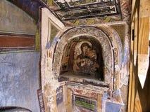 L'icône la plus ancienne à l'entrée au monastère Images libres de droits