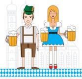 L'icône linéaire avec le garçon et la fille bavarois mignons s'est habillée dans le costume traditionnel Photographie stock