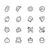 L'icône noire d'outils de boulangerie a placé sur le fond blanc Photographie stock