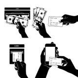 L'icône a placé avec des mains tenant la carte de crédit, le smartphone, l'argent et l'o Image stock