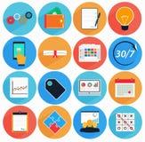 L'icône plate a placé avec la longue ombre dans le style des services financiers Photo stock