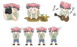 L'icône porcine de bande dessinée de garçon dans la diverse action a placé 8 Photo libre de droits