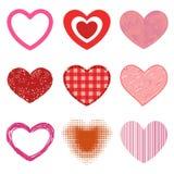 L'icône rouge de vecteur de coeur de style de Differents a isolé le symbole de Saint Valentin d'amour et épouser romantique de co Photos stock