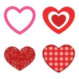 L'icône rouge de vecteur de coeur de style différent a isolé le symbole de Saint Valentin d'amour et épouser romantique de concep Photographie stock