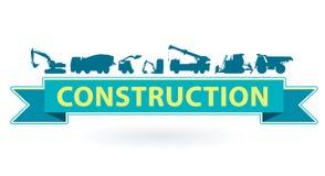 L'icona blu e gialla con l'insieme di terra funziona i veicoli delle macchine Attrezzatura pesante da costruzione Fotografia Stock Libera da Diritti