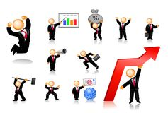 L'icona degli uomini d'affari ha impostato 1 Immagini Stock