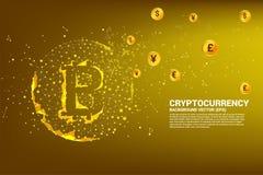 L'icona del bitcoin di vettore dal punto del poligono collega la linea con valuta internazionale illustrazione di stock