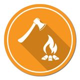 L'icona del fuoco di accampamento e dell'ascia Immagine Stock