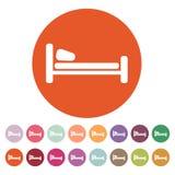 L'icona del letto Simbolo dell'hotel piano Fotografie Stock Libere da Diritti
