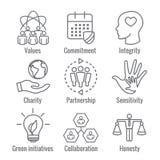 L'icona del profilo di responsabilità sociale ha messo con l'onestà, integrità, illustrazione vettoriale