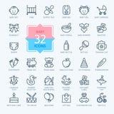 L'icona del profilo ha fissato - i giocattoli, l'alimentazione e la cura del bambino illustrazione di stock