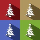 L'icona dell'albero di Natale con la stella ha messo con ombra royalty illustrazione gratis