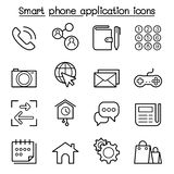 L'icona dell'applicazione di base dello Smart Phone ha messo nella linea stile sottile illustrazione vettoriale