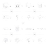 L'icona dell'ufficio ha messo una linea stile di 4 progettazioni delle icone Fotografie Stock
