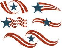 L'icona della bandierina ha impostato in rosso ed in blu Immagini Stock Libere da Diritti