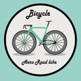 L'icona della bicicletta o firma dentro agire del fumetto Fotografia Stock