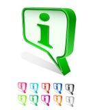 L'icona della casella di chiacchierata ha impostato con il segno di Info Fotografia Stock