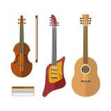 L'icona della chitarra ha messo insieme lo strumento classico del suono di arte dell'orchestra dello strumento musicale elettrico illustrazione di stock