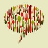 L'icona della coltelleria di colori di natale ha impostato nella figura della bolla Immagine Stock