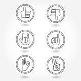 L'icona della mano messa come, dissimile, l'amore, l'approvazione, vittoria, riconcilia i simboli Immagini Stock