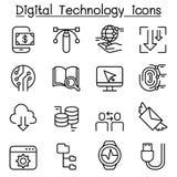 L'icona della tecnologia di dati di Digital ha messo nella linea stile sottile royalty illustrazione gratis