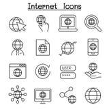 L'icona della tecnologia di Internet ha messo nella linea stile sottile royalty illustrazione gratis