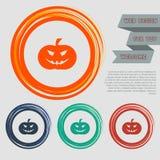 L'icona della zucca di Halloween sui bottoni rossi, blu, verdi, arancio per il vostro sito Web e sulla progettazione con spazio m illustrazione vettoriale