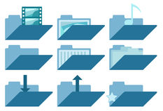 L'icona delle cartelle ha messo per i siti Web e l'interfaccia utente Raccolta aperta della cartella Fotografie Stock Libere da Diritti