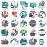 L'icona di affari, della tecnologia e di finanze ha messo per i siti Web e le applicazioni e servizi del cellulare Vettore piano illustrazione vettoriale