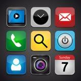 L'icona di app di vettore ha messo su un fondo nero Fotografia Stock Libera da Diritti
