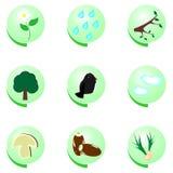 L'icona di Eco ha impostato su priorità bassa bianca Immagini Stock