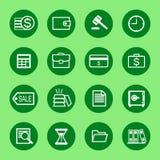 L'icona di finanza e di affari ha messo nel profilo bianco Fotografie Stock