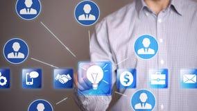 L'icona di idea di tocco dell'uomo d'affari e chiama i partner Immagine Stock