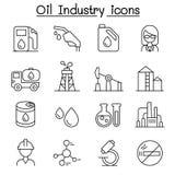 L'icona di industria petrolifera ha messo nella linea stile sottile illustrazione vettoriale