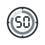 L'icona di 50 minuti isolata su fondo, sull'orologio e sul watc bianchi illustrazione di stock