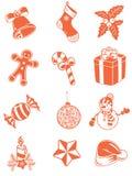 L'icona di Natale ha fissato un colore Illustrazione Vettoriale