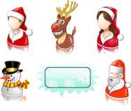 L'icona di natale ha impostato con gli utenti, Santa ed i cervi Immagine Stock