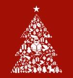L'icona di natale ha impostato nella figura dell'albero di pino Immagine Stock
