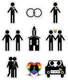L'icona di nozze dell'omosessuale 2 ha messo in bianco e nero con l'elemento dell'arcobaleno Fotografia Stock Libera da Diritti