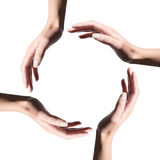 L'icona di ricicla il simbolo fatto con le mani della donna Immagini Stock Libere da Diritti
