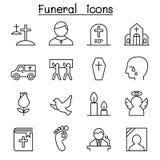 L'icona di sepoltura & di funerale ha messo nella linea stile sottile royalty illustrazione gratis