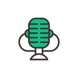 L'icona di vettore del microfono ha isolato il web di musica TV di intervista che trasmette per radio lo strumento vocale Fotografie Stock Libere da Diritti