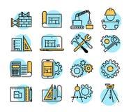 L'icona di vettore di fabbricazione e di ingegneria ha messo nella linea stile sottile illustrazione di stock